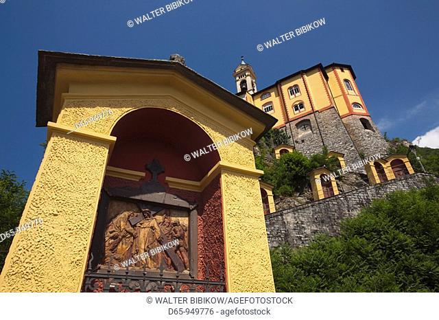 Switzerland, Ticino, Lake Maggiore, Locarno, Madonna del Sasso church and Via Monti della Trinita steps