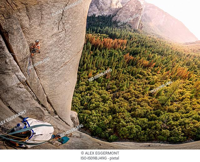Rock climber on El Capitan, overhead view, Yosemite Valley, California, United States