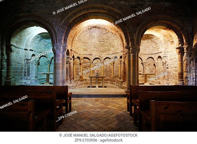 Upper Church (Romanesque) of the Monastery of San Juan de la Peña, from the 11th century, in Huesca, Aragón. Close to the city of Jaca and the Camino de...