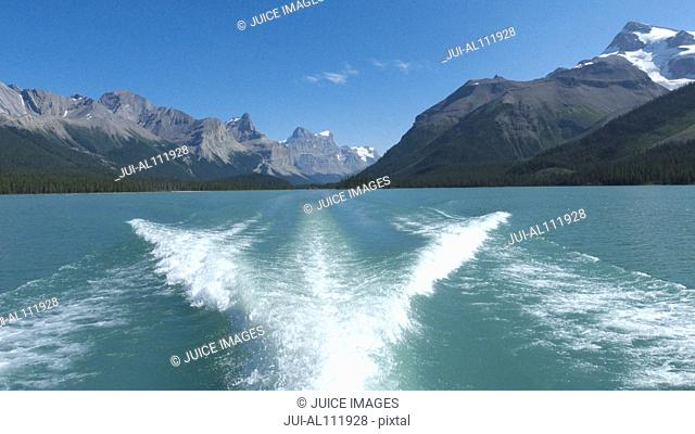 Cruise ship on Maligne Lake, Jasper National Park, British Columbia, Canada