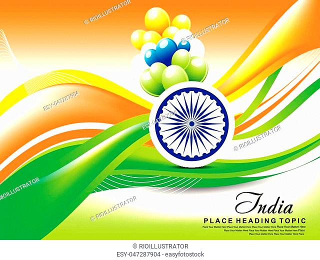indian republic day wave abstract background with balloon