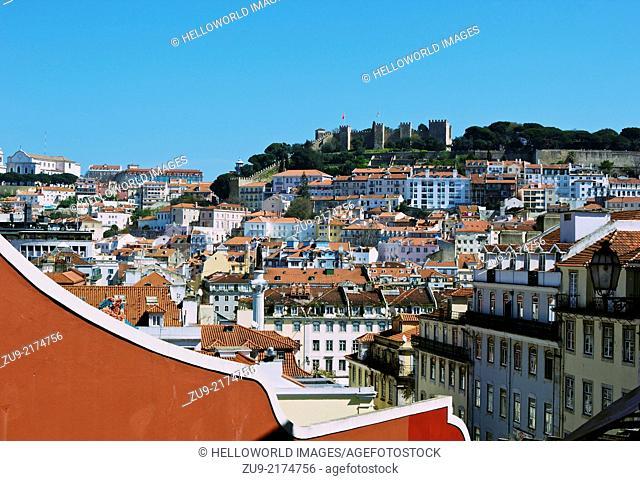 Panorama across rooftops towards Castelo de Sao Jorge, Lisbon, Portugal, western Europe