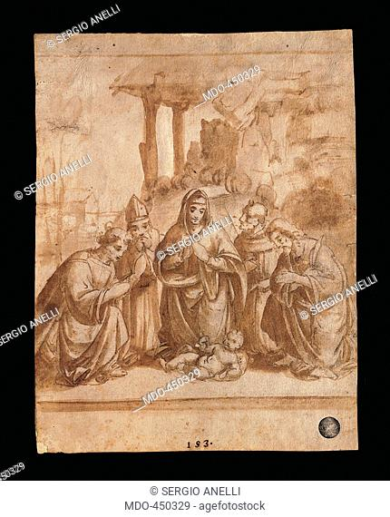 Holy Family with young St John and an angel, by Marco dOggiono, 16th Century, red ink and water wash, . Italy, Veneto, Venice, Accademia Art Galleries