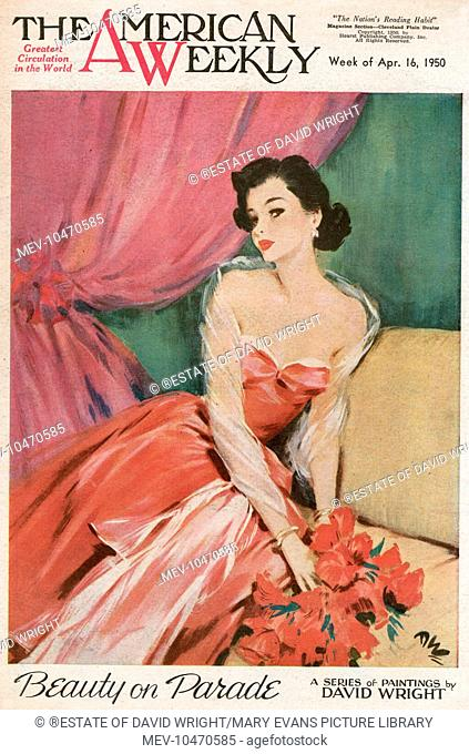 Elegant woman with black hair, wearing a low-cut rose pink evening dress with a transparent muslin scarf round her shoulders and arms