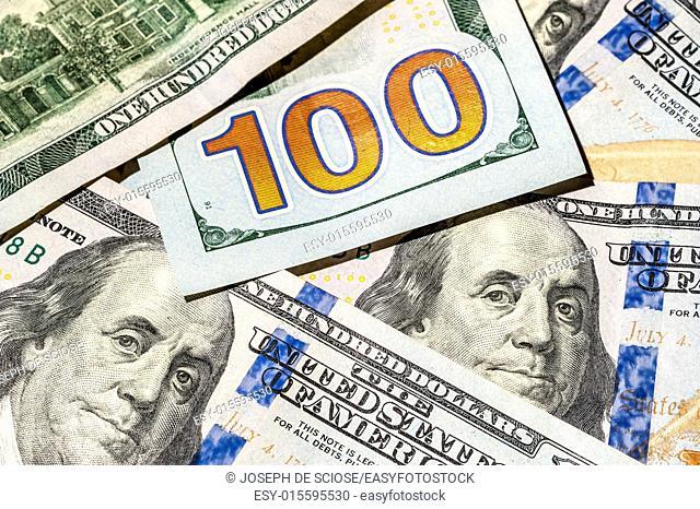 One hundred dollar bills, American currerncy