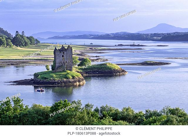 Castle Stalker, medieval four-story tower house / keep in Loch Laich, inlet off Loch Linnhe near Port Appin, Argyll, Scotland, UK