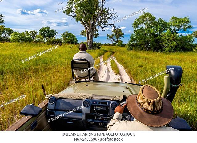 Safari vehicle, Kwara Camp, Okavango Delta, Botswana
