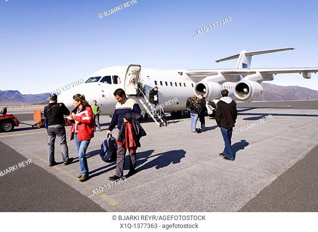 Passengers arriving with Atlantic Airways plane at Narsarsuaq International Airport, South Greenland