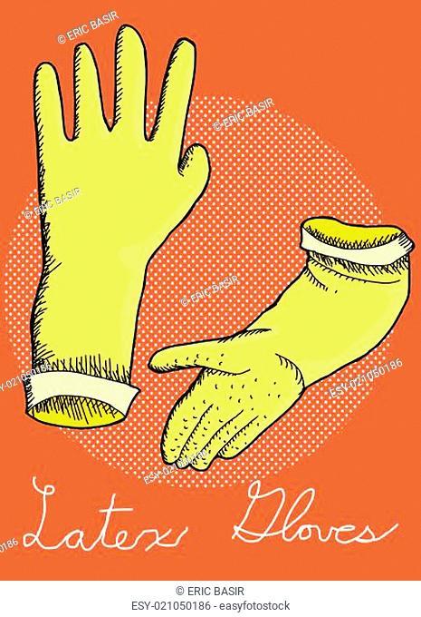 Latex rubber cleaning gloves illustration over orange background