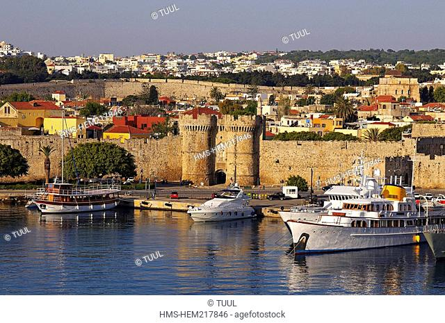 Greece, Dodecanese, Rhodes Island, capital of the Dodecanese, Citadel of Rhodes, Palea Poli old city, listed as World Heritage by UNESCO