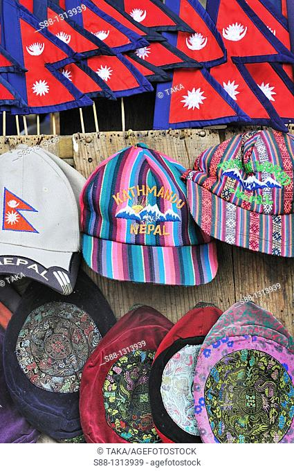 Nepali cap at the shop in Durbar square
