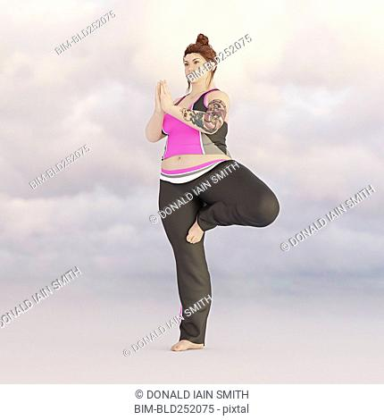 Overweight woman performing yoga in sky