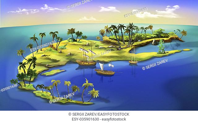 Digital painting of the small pirate island with boats and palms
