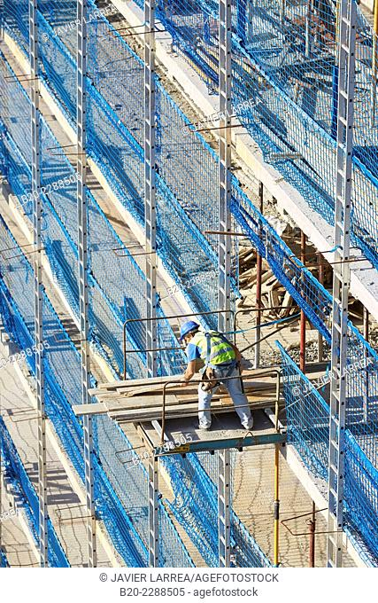 Worker harness. Security System Work RESA. Protection in building work in construction. System that eliminates the possibility of people falling in the works