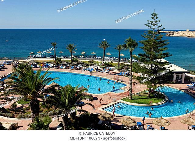 Tunisia - Monastir - The swimming pool of the Regency hotel close to the marina