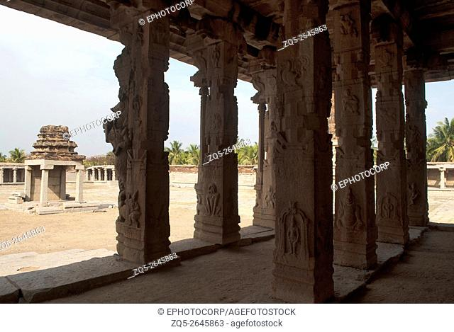 View of Pattabhirama Temple from Kalyana Mandapa (Divine Marriage Hall). Hampi, Karnataka, India. On the left is a structure which is probably meant for the...