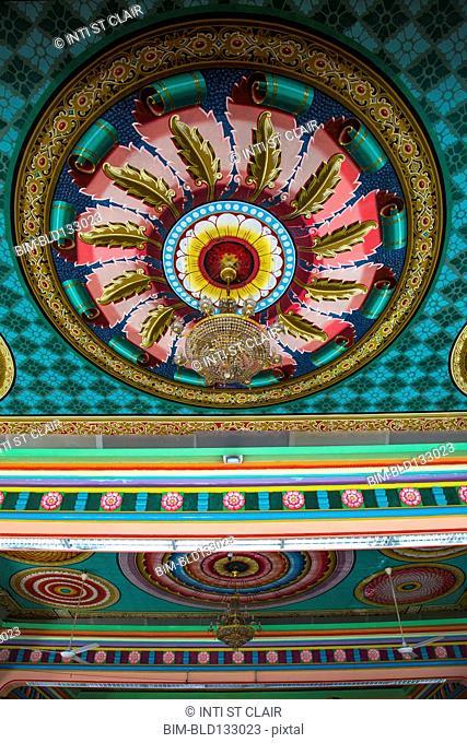 Ornate ceiling in Sri Mahamariamman temple, Kuala Lumpur, Federal Territory of Kuala Lumpur, Malaysia