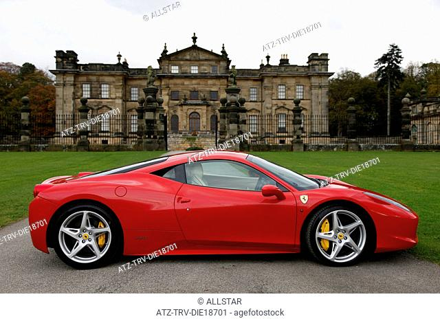RED FERRARI 458 ITALIA CAR; DUNCOMBE PARK, HELMSLEY, NORTH YORKSHIRE; 02/11/2011