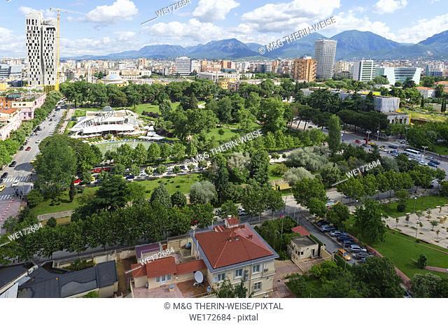View over Tirana downtown, Rinia Park, Taivani center and new Skyscrapers, Tirana, Albania