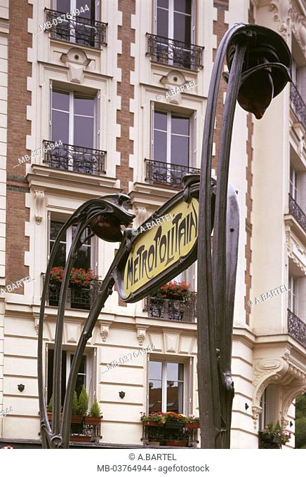 France, Paris, city center,  City track sign, Art deco style,  Europe, République Française, city, capital, district, means of transportation, sign, sign, Metro