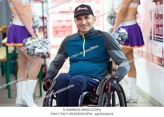 Haki Doku from Italy and his wheelchair take on the race from top down in Frankfurt am Main, Germany, 11 June 2017. Over 1000 runners took on 1202 stairs