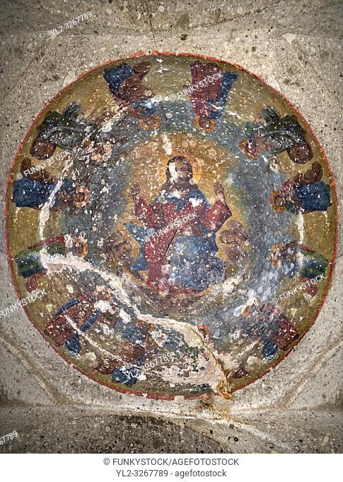 "Pictures & images of Sivisli (St Anargitios) Church interior, 9th century, the Vadisi Monastery Valley, """"Manast?r Vadisi"", of the Ihlara Valley, Guzelyurt"