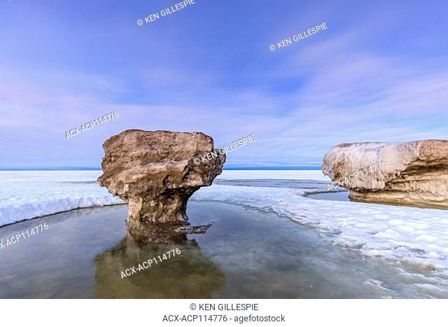 Ice formations on Lake Winnipeg, Winnipeg Beach, Manitoba, Canada