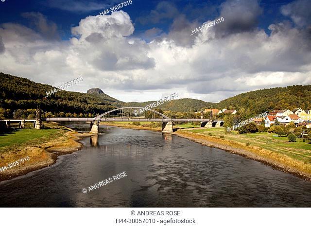 Carola Bridge over the Elbe, Bad Schandau, Saxon Switzerland, Saxony, Germany, Europe
