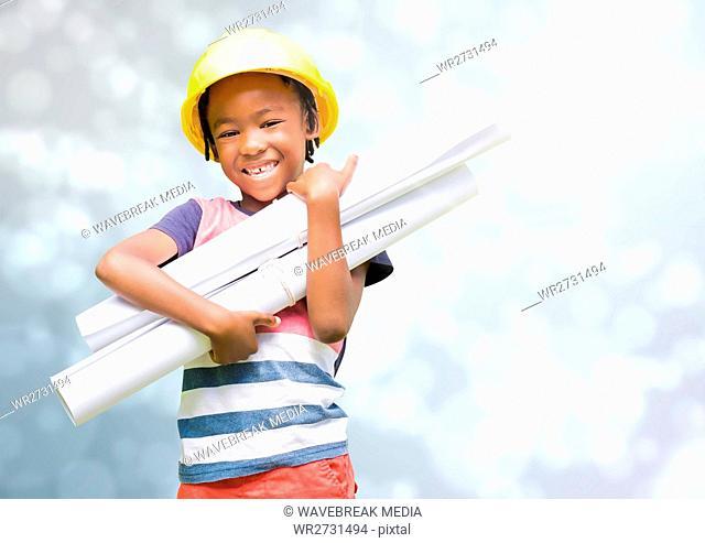 Kid Architect Profession holding plans against shining grey background