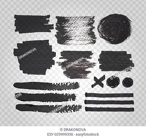 Vector set of transparent felt tip pen spots, stroke and marks, black paint and ink decorative elements, on transparent grid background