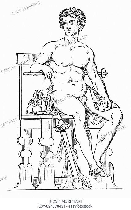 Greek seat, vintage engraving