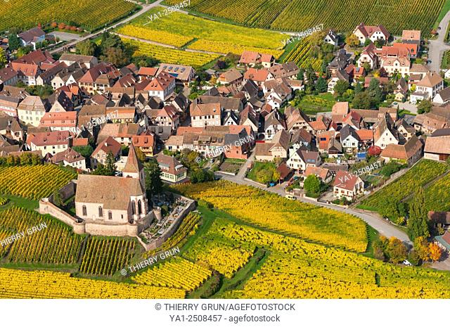 France, Haut Rhin 68, Wines road, village of Hunawihr, fortified church of Saint Jacques le Majeur, village classified most beautiful french village aerial view
