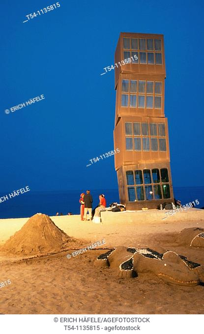 Metallic cubic sculpture by artist Rebecca Horn at Barceloneta beach, Barcelona. Catalonia, Spain