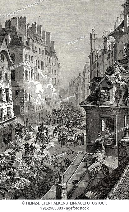 The French Revolution of 1830, July Revolution, rue Saint-Antoine, Paris