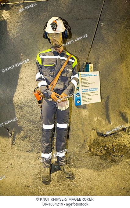 Model of a miner wearing safety equipment in the LKAB InfoMine in Kiruna, Lappland, North Sweden, Sweden