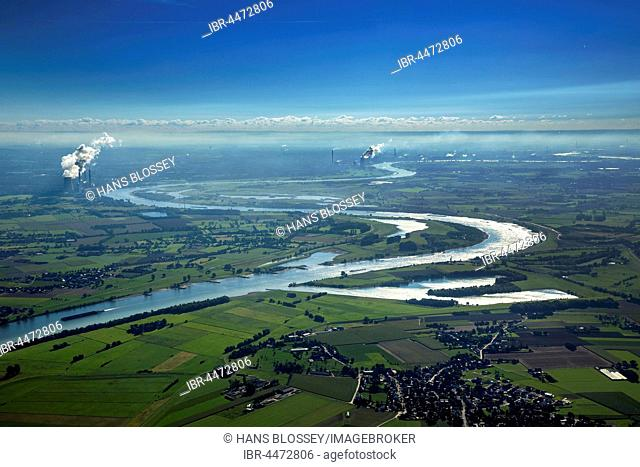 Rhine meander, Rheinbogen at Beeckerwerth, Rheinaue wetlands, Duisburg, Ruhr district, North Rhine-Westphalia, Germany