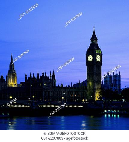 Westminster Palace and Big Ben clock tower at dusk London Great Britain