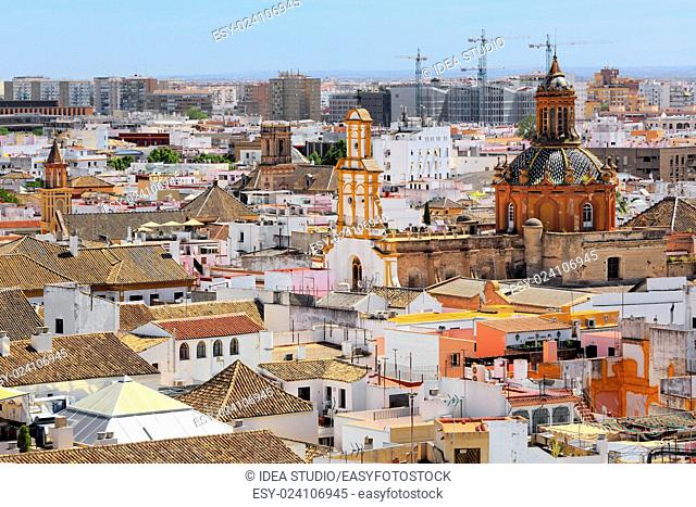 Santa Cruz church from La Giralda Tower of Cathedral Seville Andalusia Spain