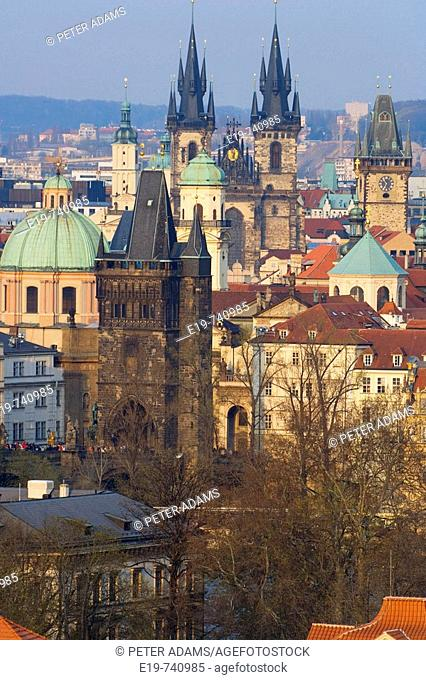 View over Charles Bridge & Old Town, Stare Mesto in late afternoon, Prague, Czech Republic