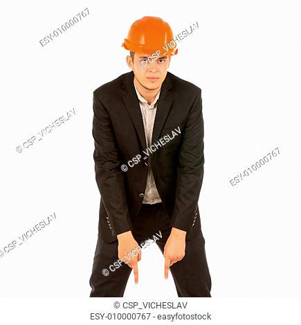 Young Engineer in Black Attire and Orange Helmet