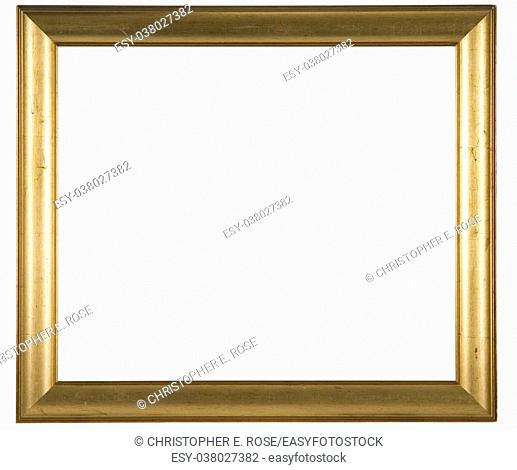 Large empty picture frame, distressed gold finish
