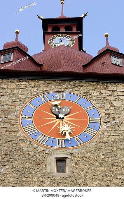 Town hall clock, Lucerne, canton Lucerne, Switzerland
