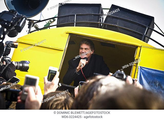 David Hasselhoff visits Berlin in 2013 to protest the demolition of a section of one of the remaining parts of the Berlin Wall