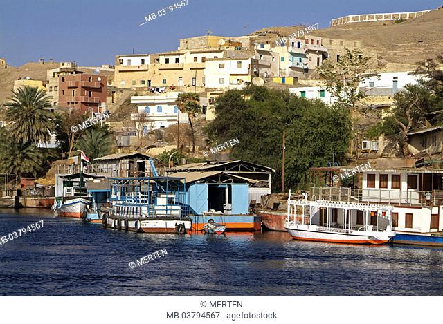 Egypt, Assuan, view at the city, river Nile,  Landing place, trip boats,  Africa, head Egypt, city, buildings, houses, residences, riversides, Nilufer, boats