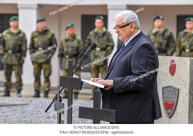 07.09.2018, Brandenburg, Lebus: Sergej J. Netschajew, Ambassador of the Russian Federation in Germany, speaks at the Soviet war gravesite