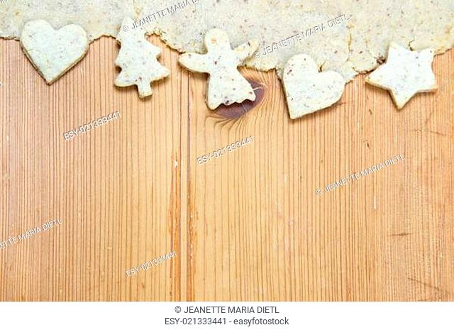 White Christmas Decoration With Cookies On Wooden Background For A Rustic Greeting Card