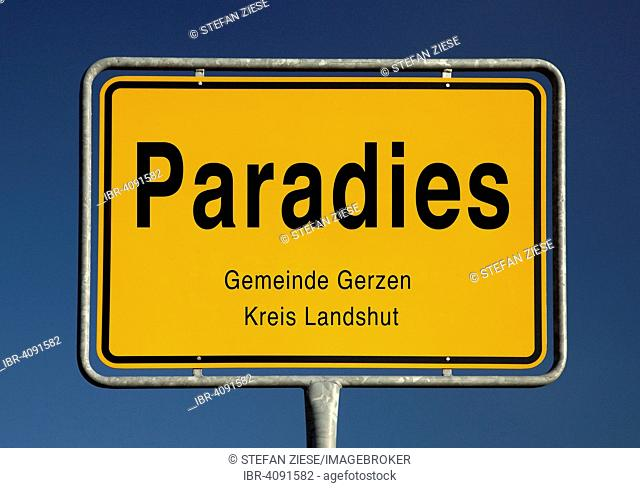 Entry sign, Paradies, municipality of Gerzen, Bavaria, Germany