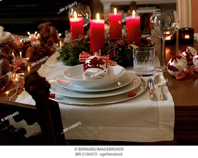 Christmas dining table arranged to create a festive atmosphere