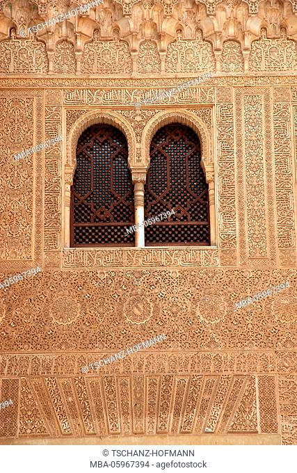 Spain, Andalusia, Granada, Alhambra, part of the palace complex, Nasrid Palace, artful ornaments on Palace of Yusuf I, also called Comares