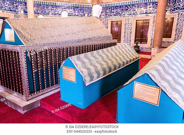 Interior view of Tomb of Hurrem (Roksolana) Sultan who is wife of the legendary Turkish Sultan Suleyman in Suleymaniye mosque, Istanbul,Turkey